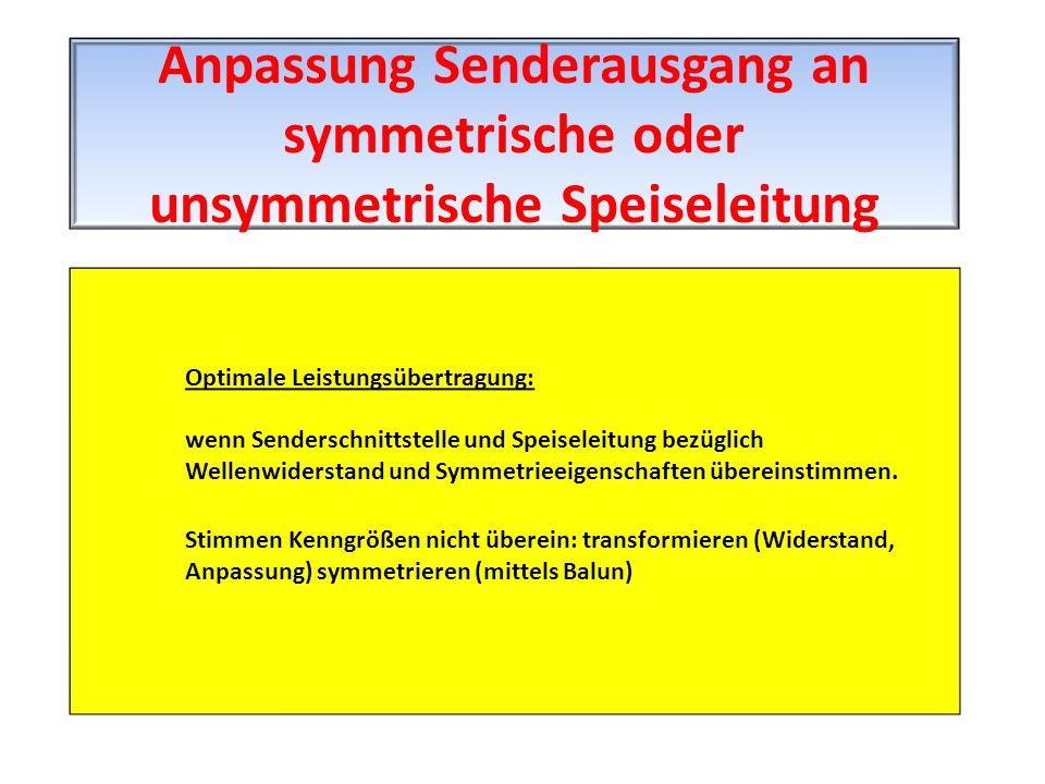 Anpassung Senderausgang an symmetrische oder unsymmetrische Speiseleitung