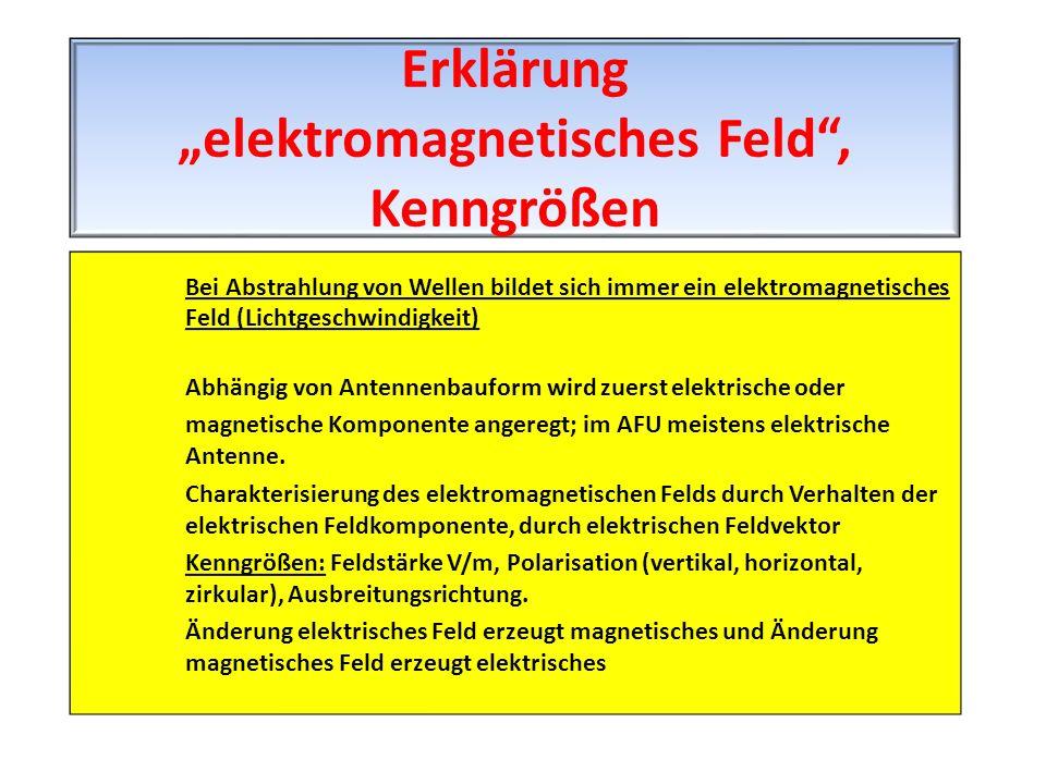 """Erklärung """"elektromagnetisches Feld , Kenngrößen"""
