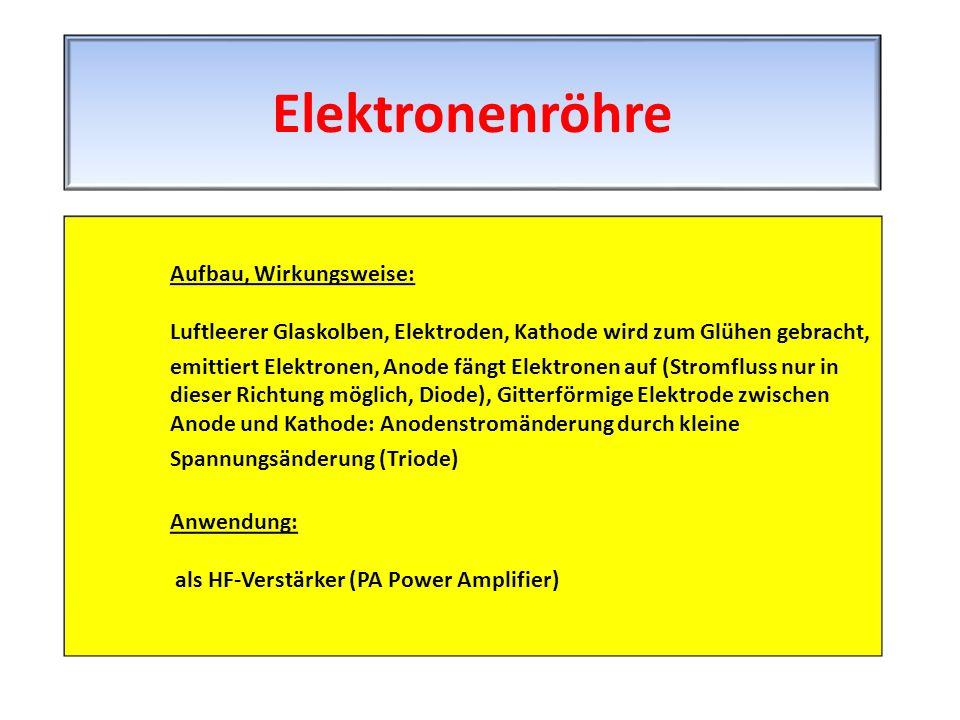 Elektronenröhre Aufbau, Wirkungsweise: Luftleerer Glaskolben, Elektroden, Kathode wird zum Glühen gebracht,