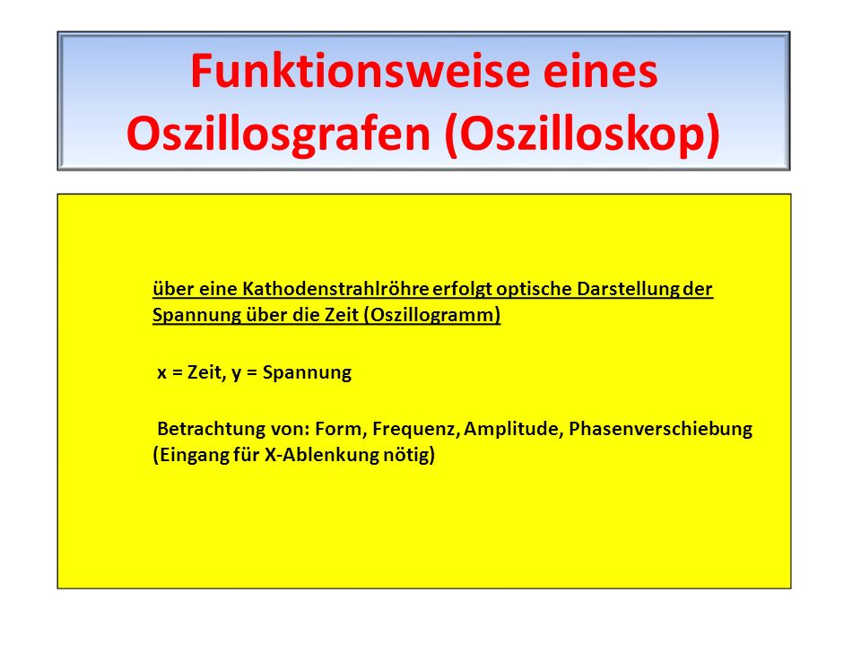 Funktionsweise eines Oszillosgrafen (Oszilloskop)