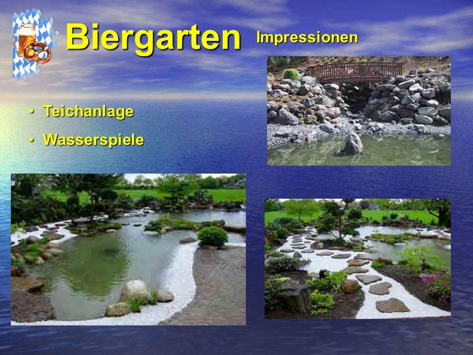 Biergarten Impressionen Teichanlage Wasserspiele