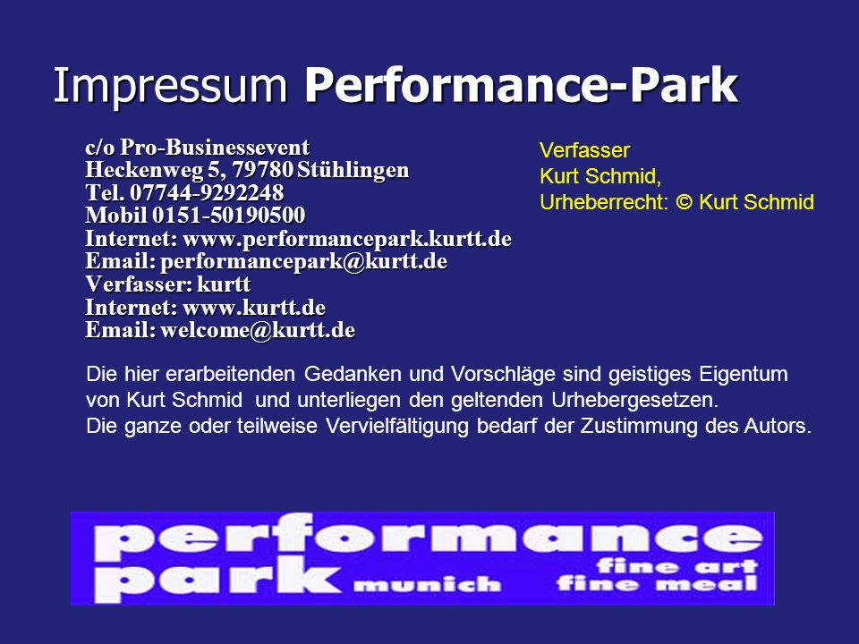 Impressum Performance-Park