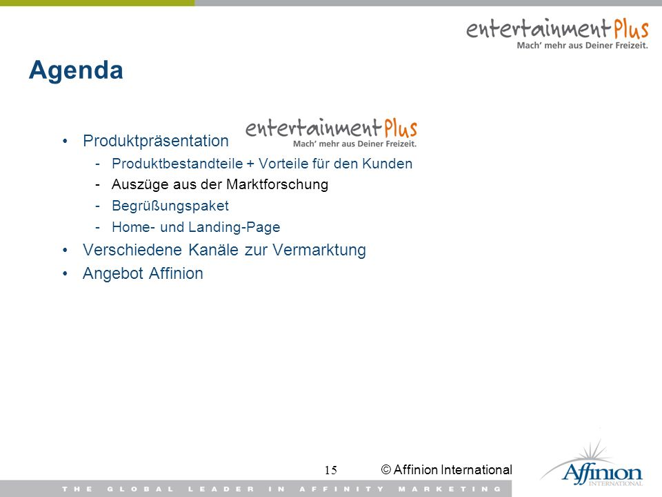 Agenda Produktpräsentation Verschiedene Kanäle zur Vermarktung