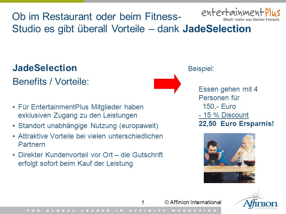 Ob im Restaurant oder beim Fitness- Studio es gibt überall Vorteile – dank JadeSelection