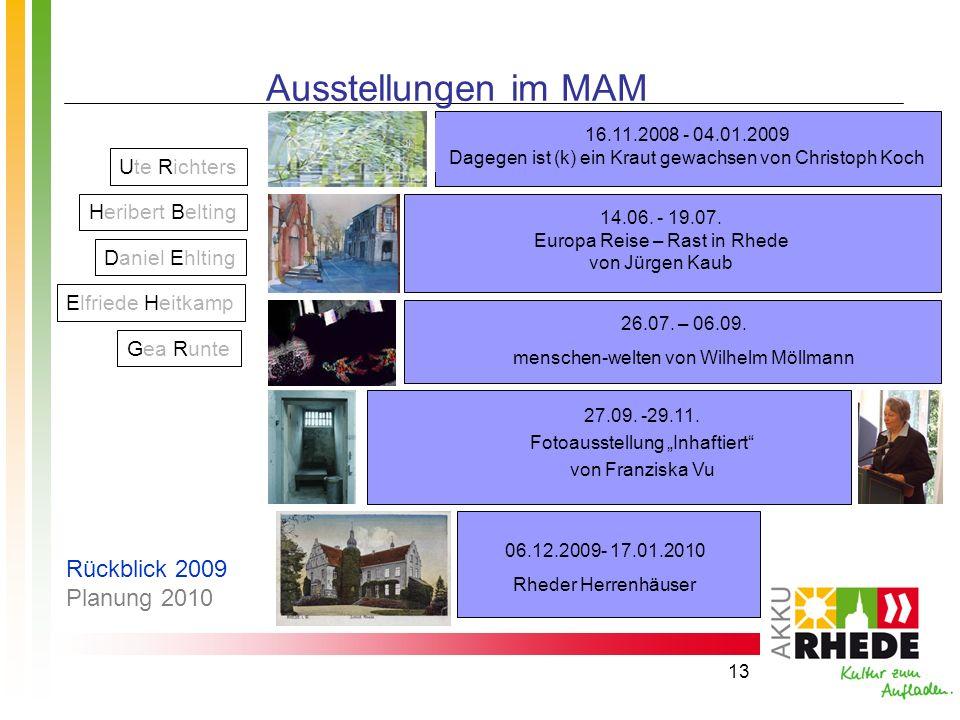Ausstellungen im MAM Rückblick 2009 Planung 2010 Ute Richters
