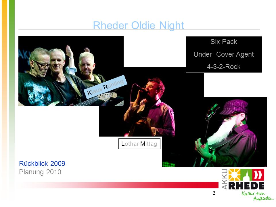 Rheder Oldie Night Six Pack Under Cover Agent 4-3-2-Rock
