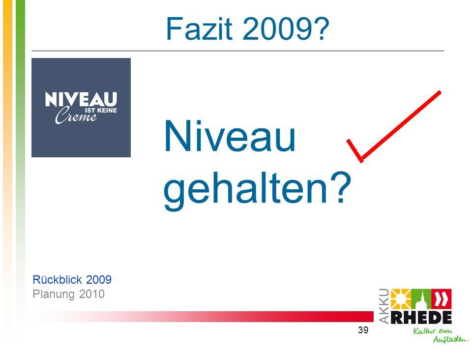Fazit 2009 Niveau gehalten Rückblick 2009 Planung 2010
