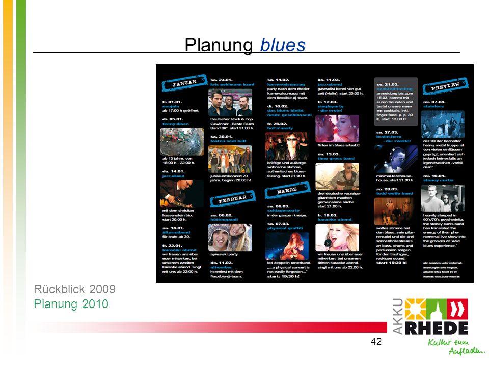 Planung blues Rückblick 2009 Planung 2010