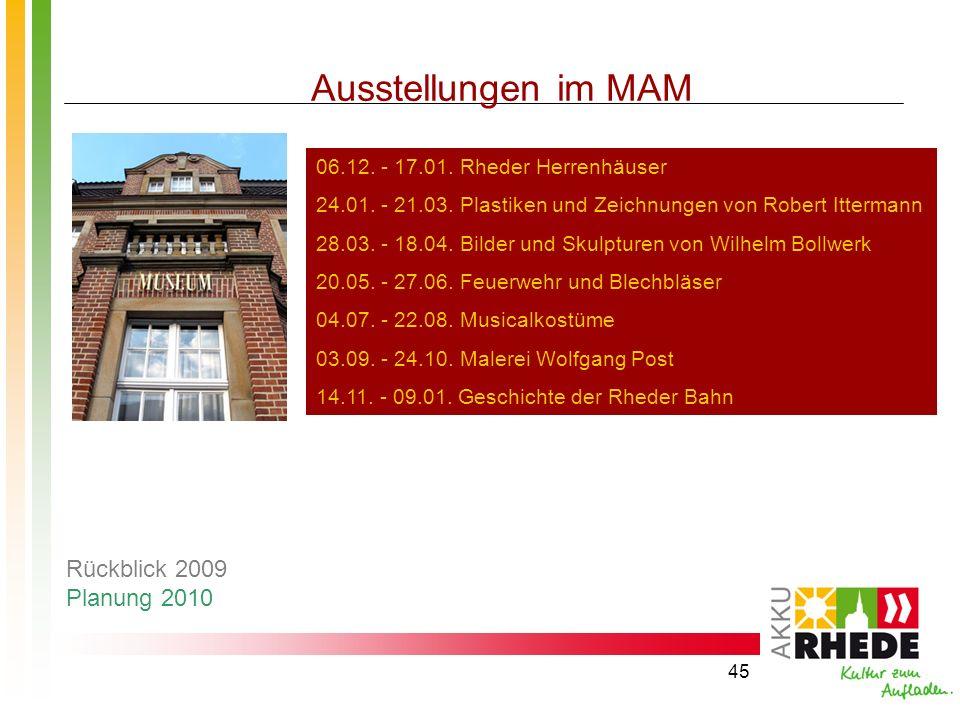 Ausstellungen im MAM Rückblick 2009 Planung 2010