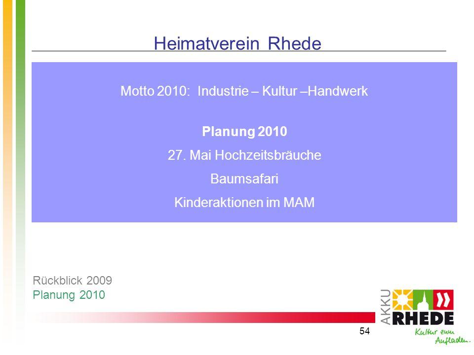 Motto 2010: Industrie – Kultur –Handwerk