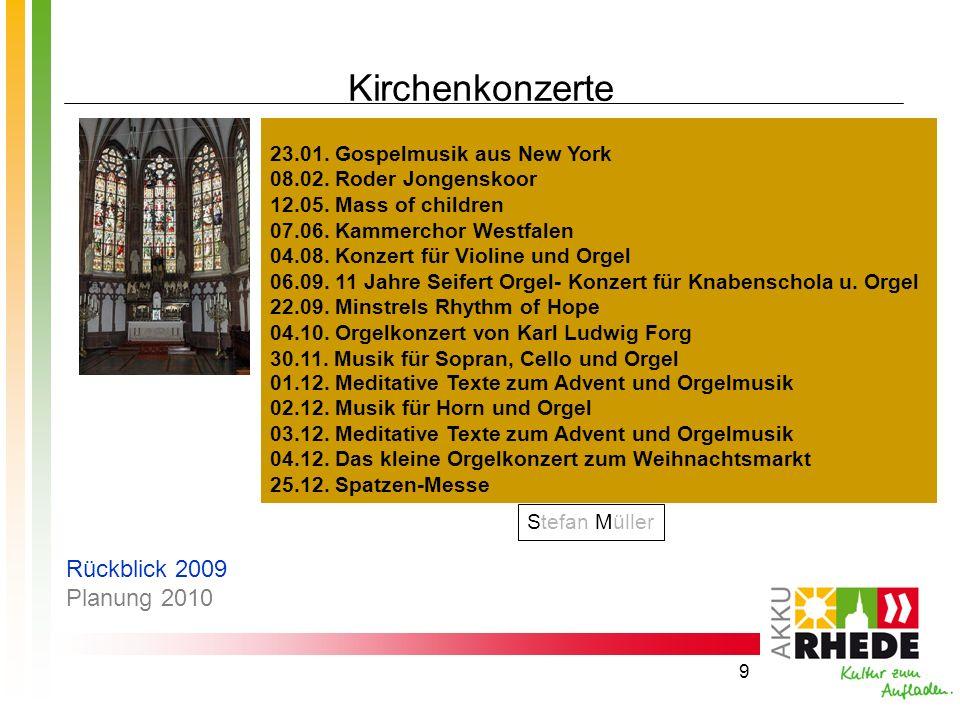 Kirchenkonzerte Rückblick 2009 Planung 2010