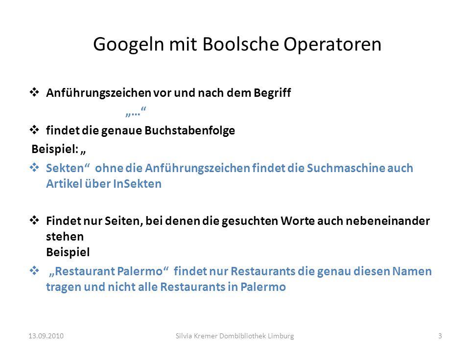 Googeln mit Boolsche Operatoren