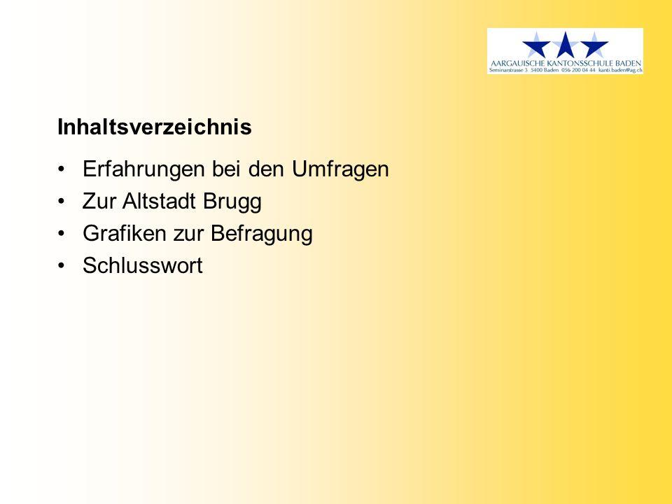 Inhaltsverzeichnis Erfahrungen bei den Umfragen. Zur Altstadt Brugg.