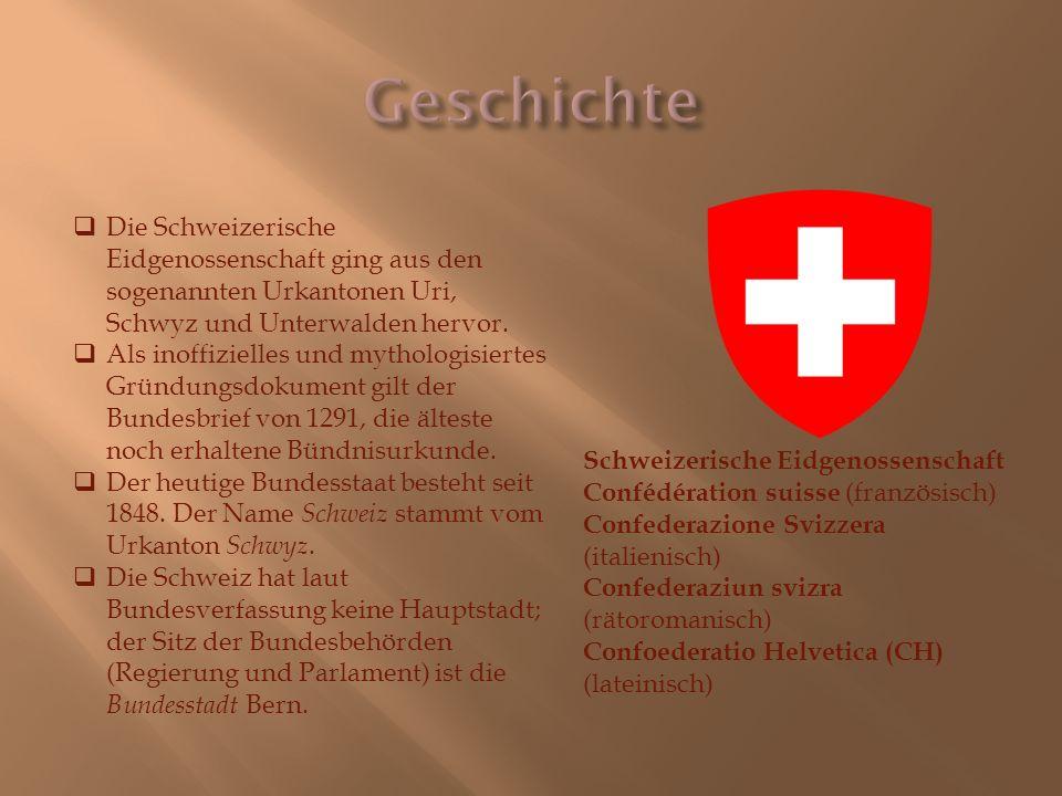 Geschichte Die Schweizerische Eidgenossenschaft ging aus den sogenannten Urkantonen Uri, Schwyz und Unterwalden hervor.