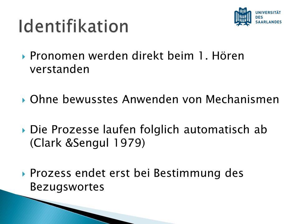Identifikation Pronomen werden direkt beim 1. Hören verstanden