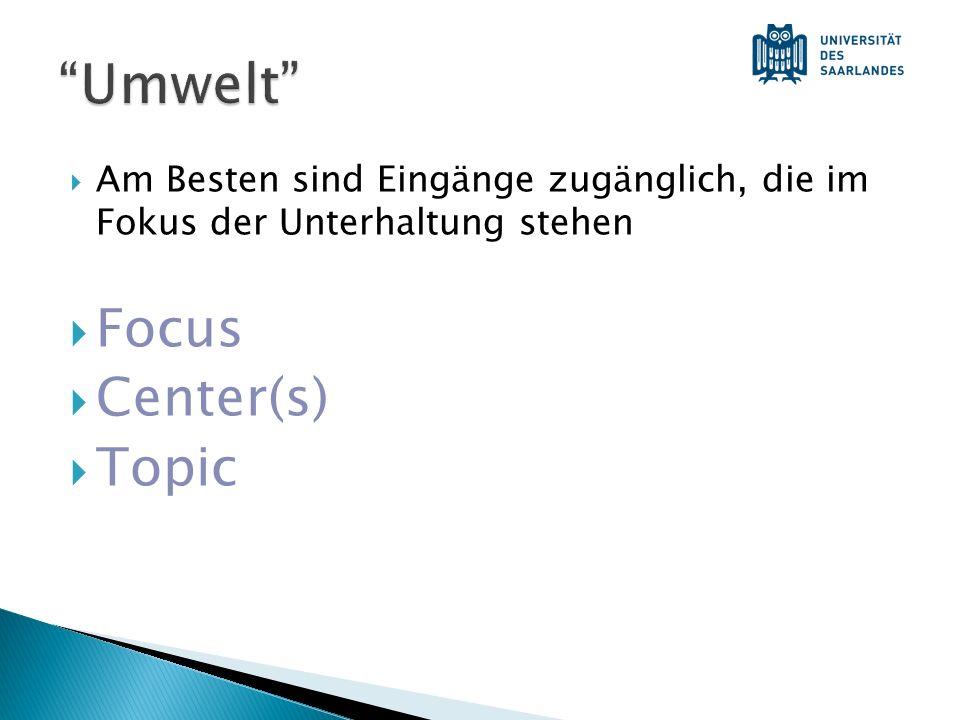 Umwelt Focus Center(s) Topic