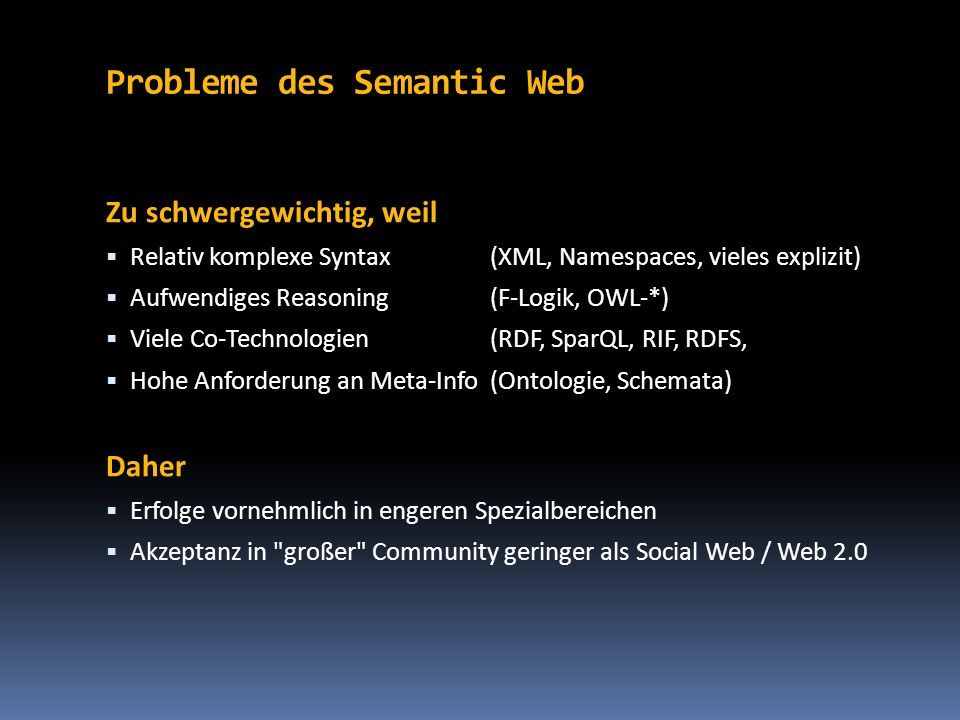 Probleme des Semantic Web