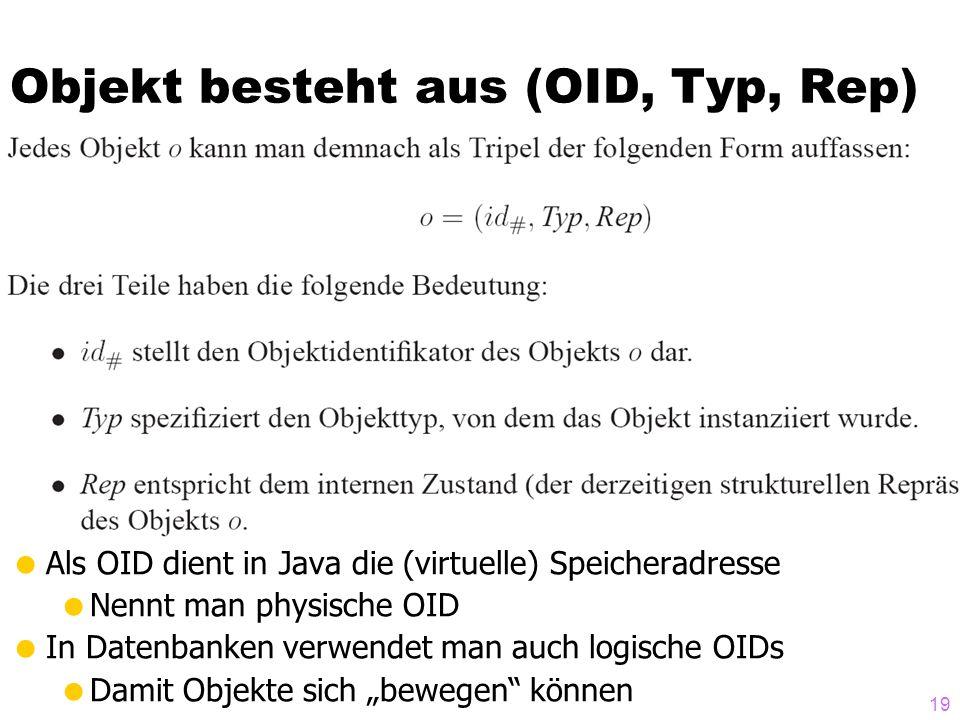 Objekt besteht aus (OID, Typ, Rep)