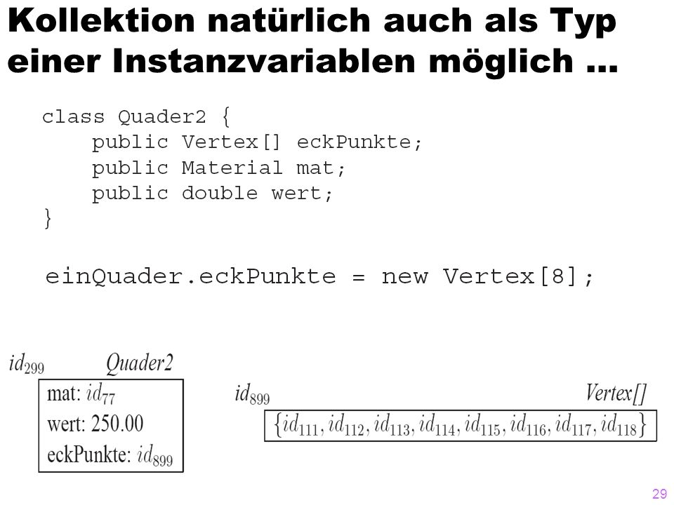 Kollektion natürlich auch als Typ einer Instanzvariablen möglich …