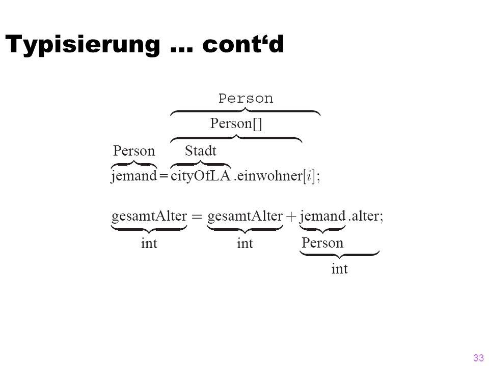 Typisierung … cont'd