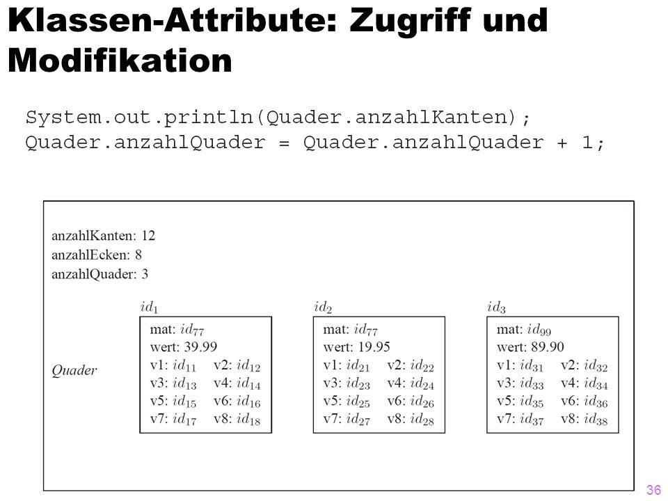Klassen-Attribute: Zugriff und Modifikation