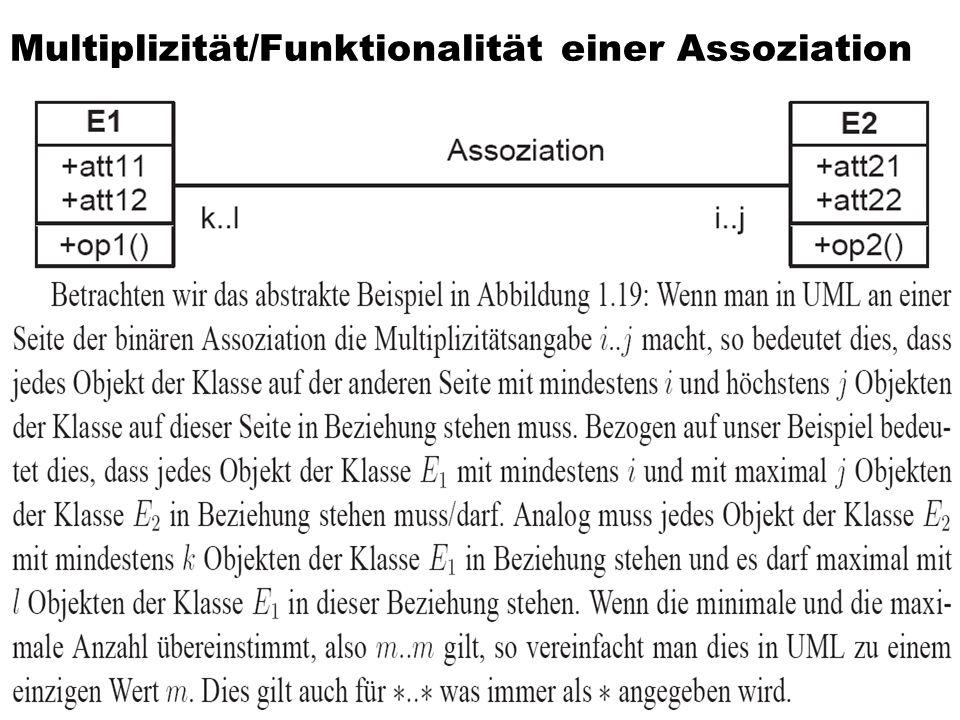 Multiplizität/Funktionalität einer Assoziation