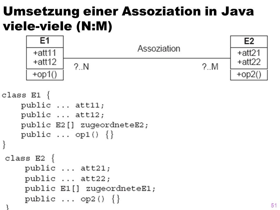 Umsetzung einer Assoziation in Java viele-viele (N:M)