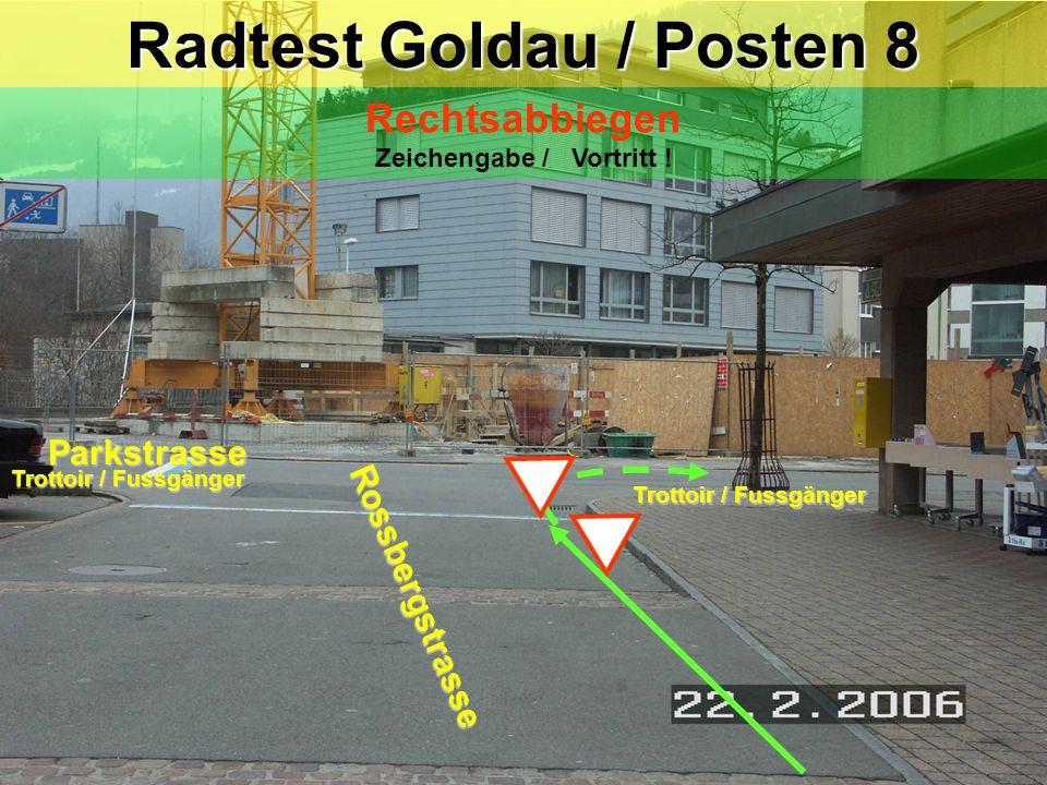 Radtest Goldau / Posten 8 Rechtsabbiegen Zeichengabe / Vortritt !