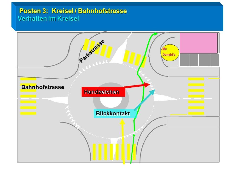 Posten 3: Kreisel / Bahnhofstrasse Verhalten im Kreisel