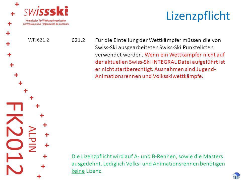 Lizenzpflicht WR 621.2.