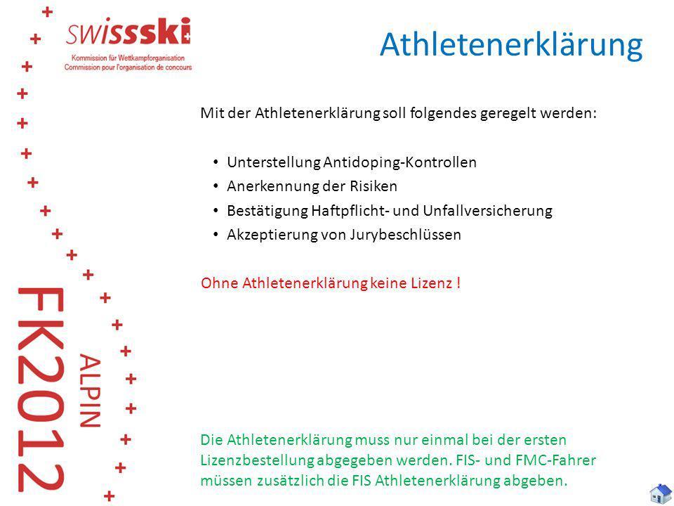 Athletenerklärung Mit der Athletenerklärung soll folgendes geregelt werden: Unterstellung Antidoping-Kontrollen.