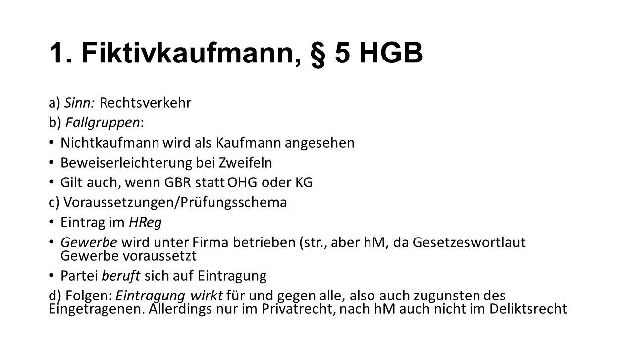 1. Fiktivkaufmann, § 5 HGB a) Sinn: Rechtsverkehr b) Fallgruppen: