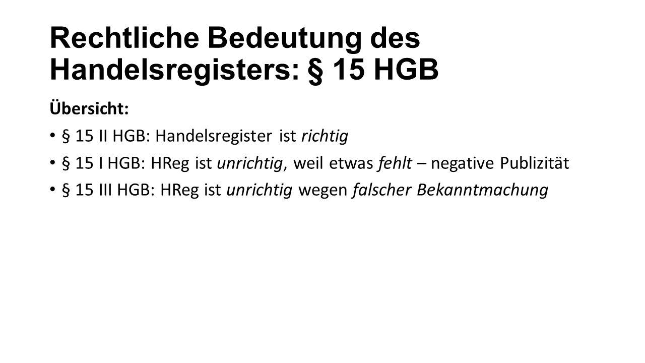 Rechtliche Bedeutung des Handelsregisters: § 15 HGB