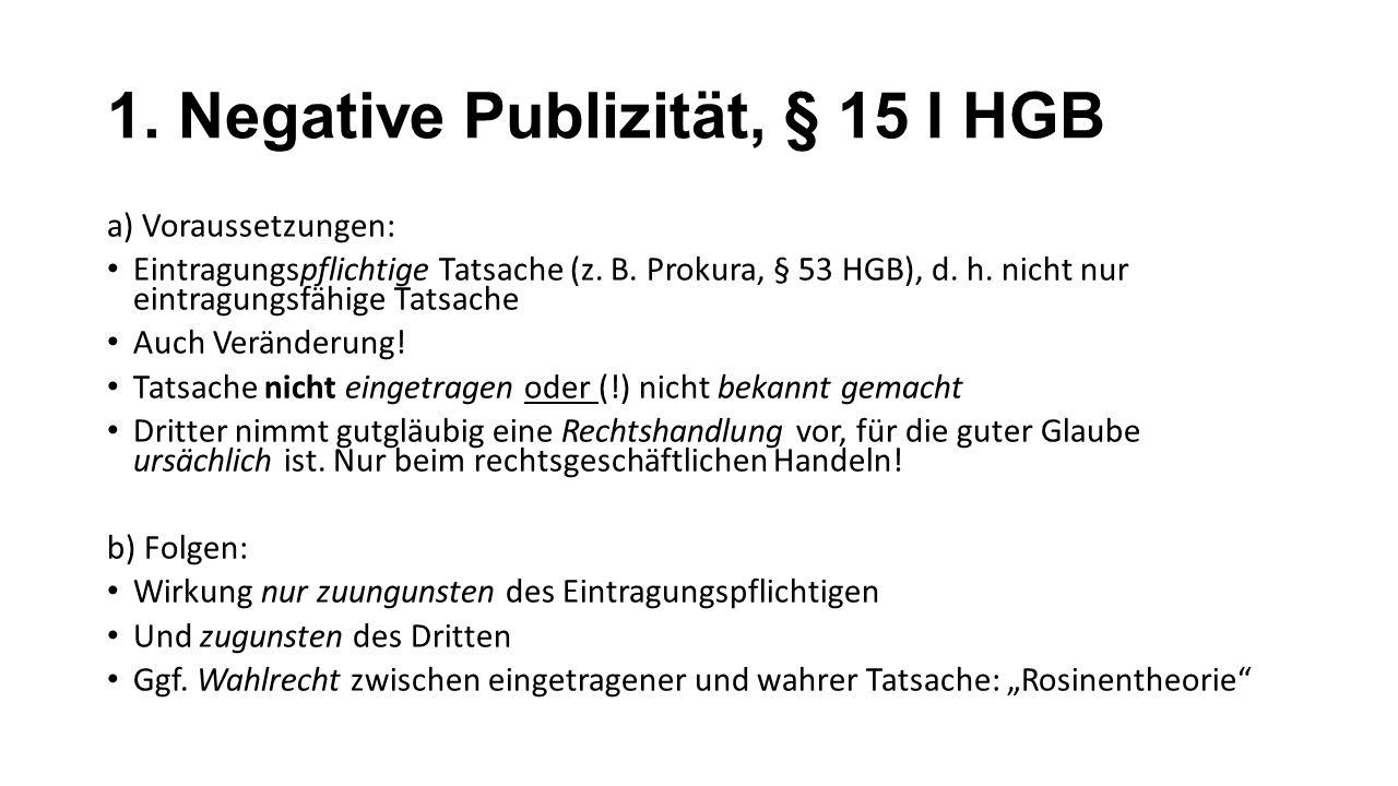 1. Negative Publizität, § 15 I HGB