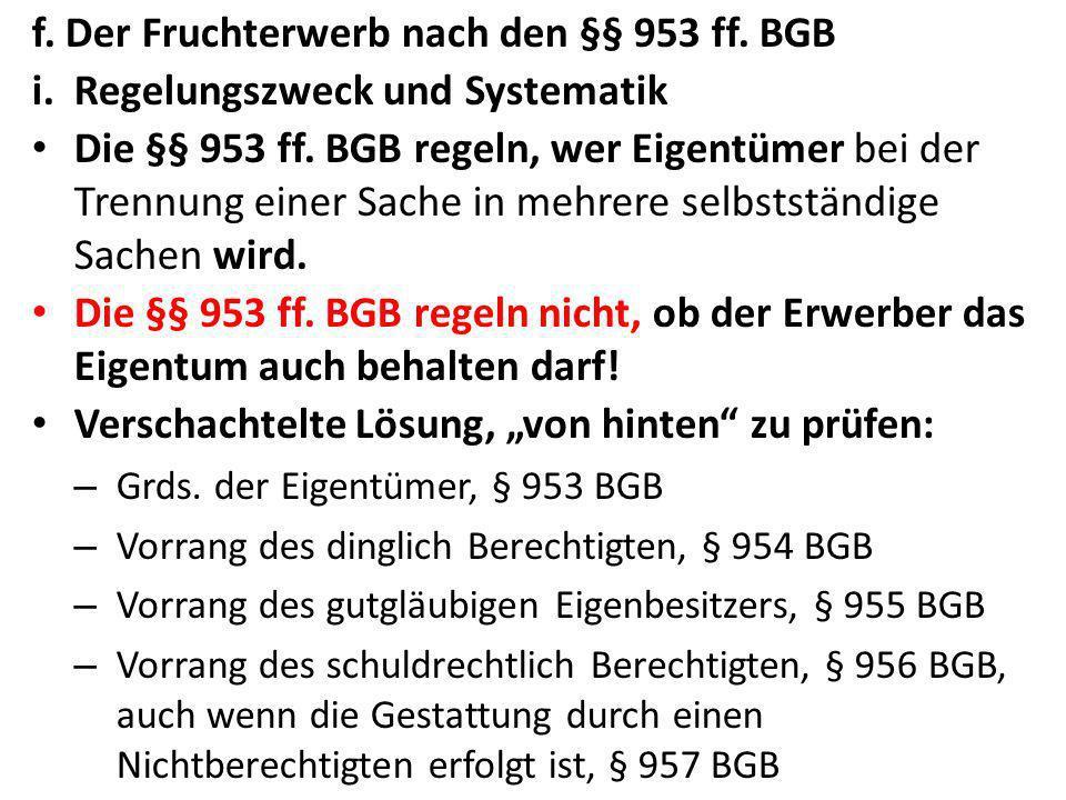 f. Der Fruchterwerb nach den §§ 953 ff. BGB
