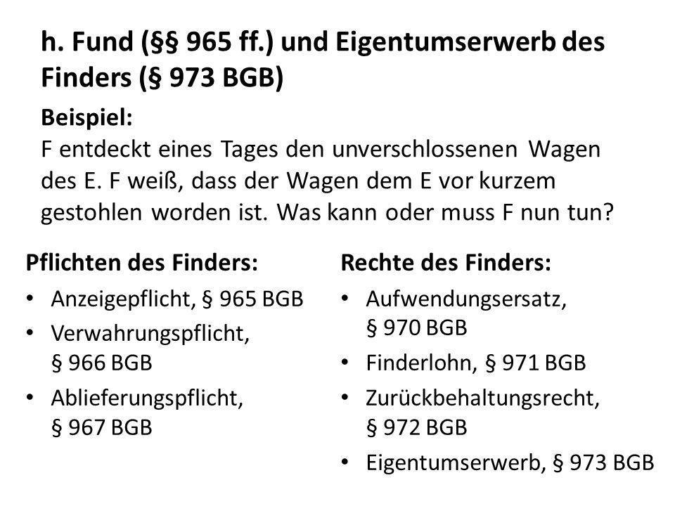 h. Fund (§§ 965 ff.) und Eigentumserwerb des Finders (§ 973 BGB)