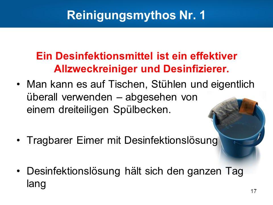 Reinigungsmythos Nr. 1 Ein Desinfektionsmittel ist ein effektiver Allzweckreiniger und Desinfizierer.