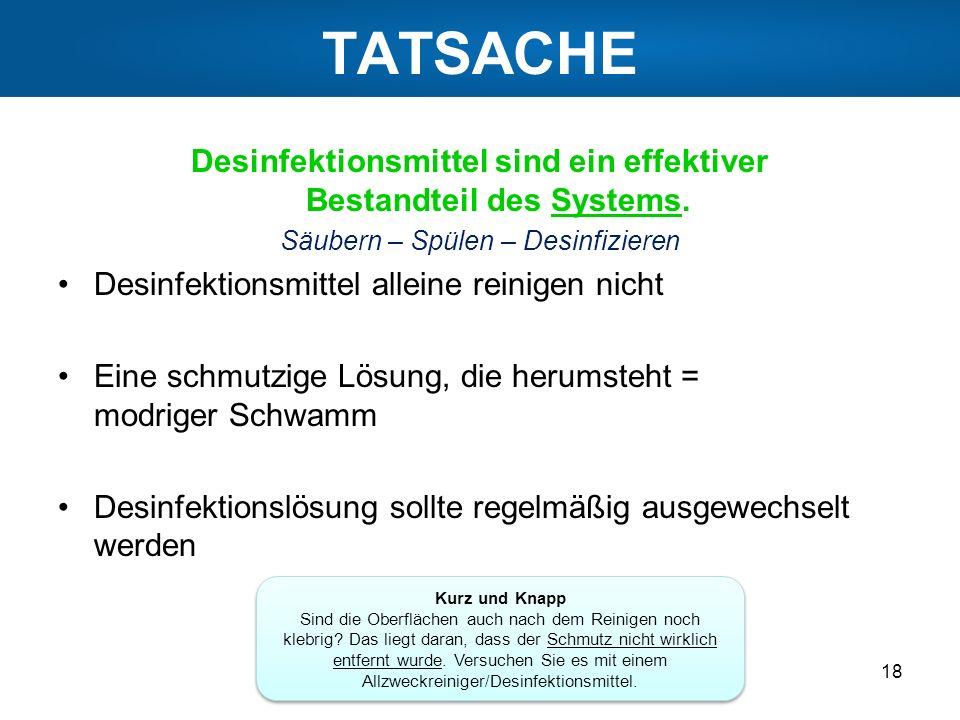 TATSACHE Desinfektionsmittel sind ein effektiver Bestandteil des Systems. Säubern – Spülen – Desinfizieren.