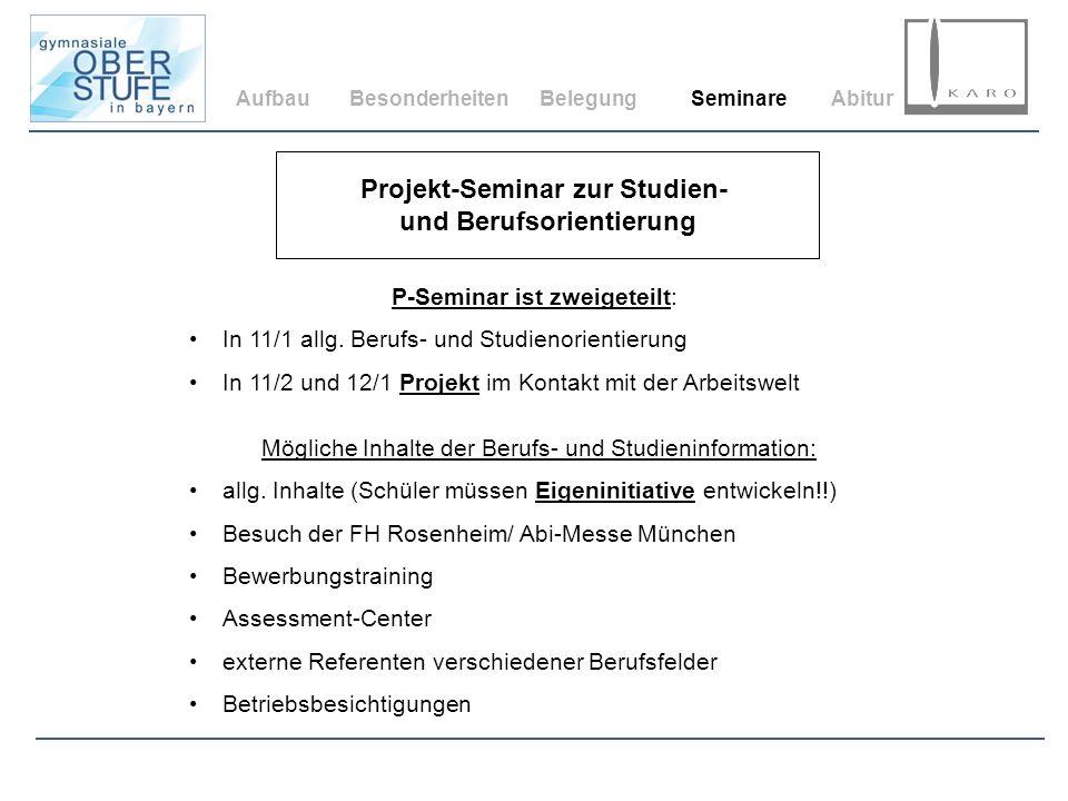 Projekt-Seminar zur Studien- und Berufsorientierung