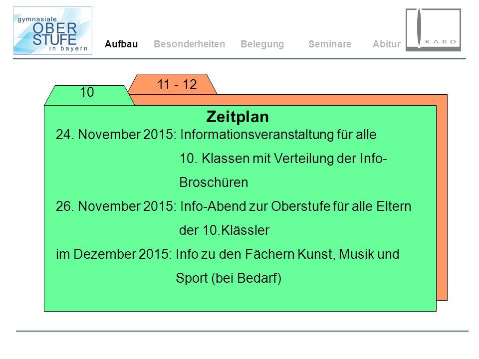 Aufbau Besonderheiten. Belegung. Seminare. Abitur. 11 - 12. 10. Zeitplan. 24. November 2015: Informationsveranstaltung für alle.