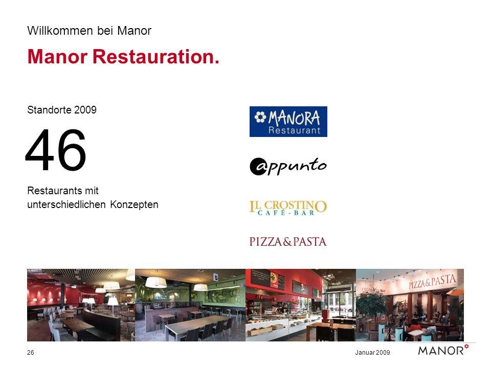 46 Manor Restauration. Willkommen bei Manor Standorte 2009