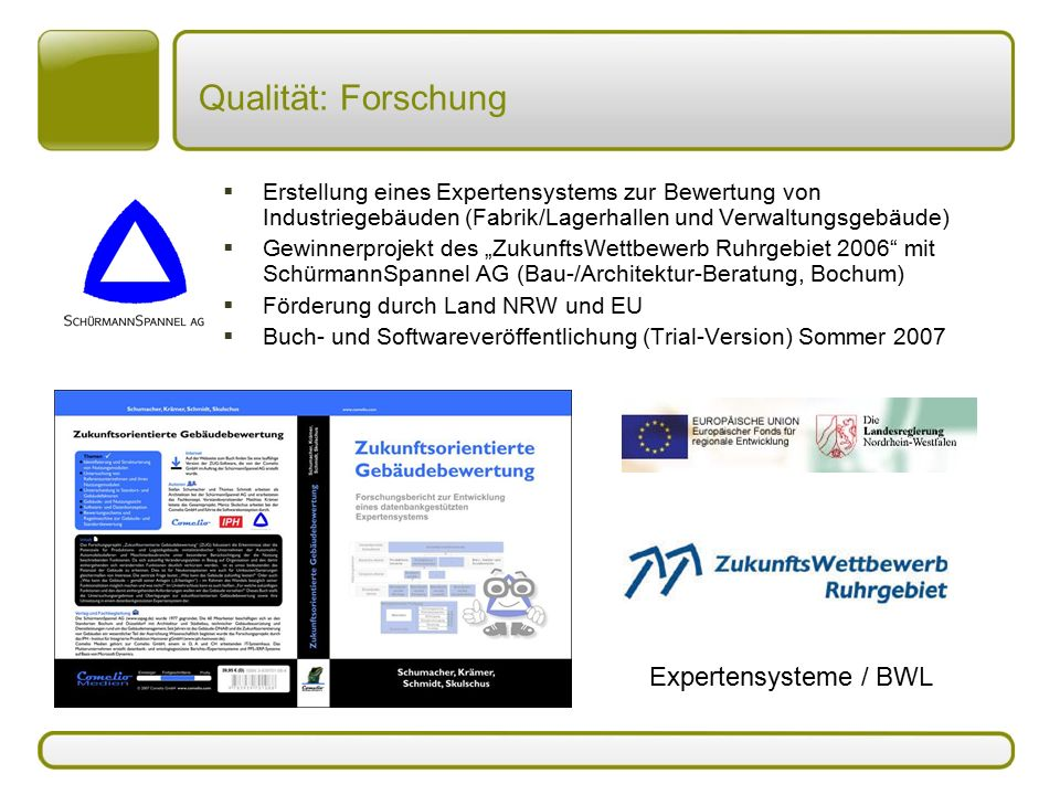 Qualität: Forschung Expertensysteme / BWL