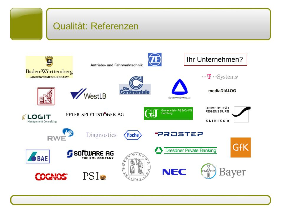 Qualität: Referenzen Ihr Unternehmen