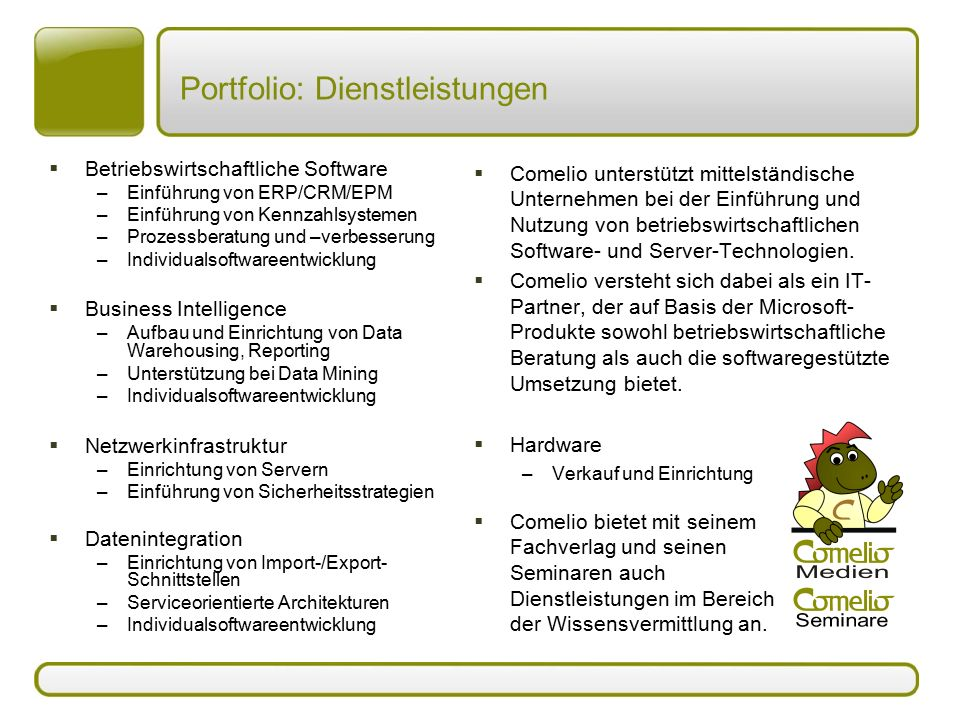 Portfolio: Dienstleistungen