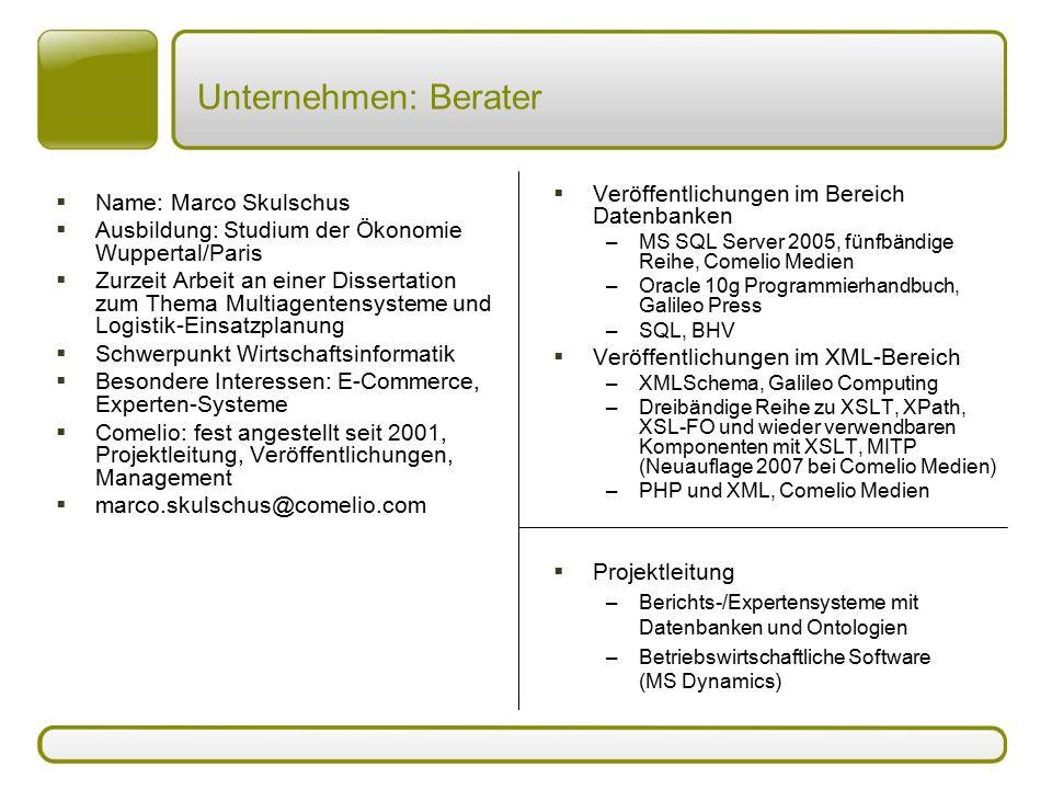 Unternehmen: Berater Veröffentlichungen im Bereich Datenbanken
