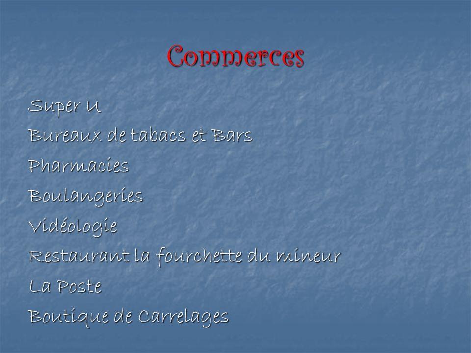 Commerces Super U Bureaux de tabacs et Bars Pharmacies Boulangeries