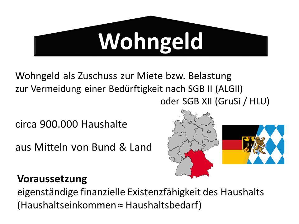 Wohngeld circa 900.000 Haushalte aus Mitteln von Bund & Land