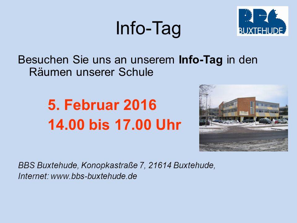 Info-Tag Besuchen Sie uns an unserem Info-Tag in den Räumen unserer Schule. 5. Februar 2016. 14.00 bis 17.00 Uhr.
