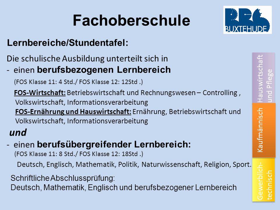 Fachoberschule Lernbereiche/Stundentafel: