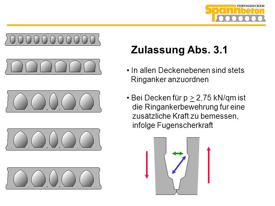 Zulassung Abs. 3.1 In allen Deckenebenen sind stets Ringanker anzuordnen.